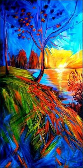 Lakeside Sunlight Paisaje Acrílico Lienzo