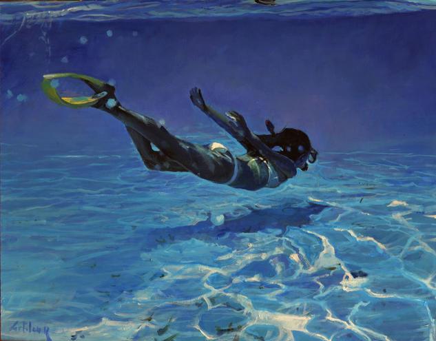 Buceando en el oceano Marina Óleo Tabla