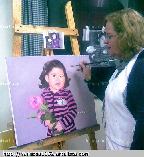 pintando a mi sobrinita nieta Emilia Millaray Retrato Lienzo Óleo
