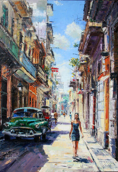 Mulata en la Habana Paisaje Óleo Lienzo