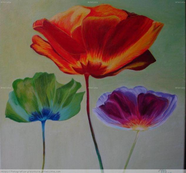 tres flores Óleo Lienzo Paisaje