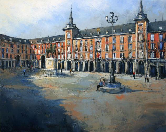 La Plaza Mayor de Madrid Lienzo Óleo Paisaje