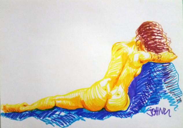 Mujer desnuda de espaldas Rotulador