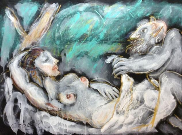 La bella y la bestia Tela Acrílico Desnudos