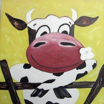 La vaca granjera Óleo Lienzo Animales