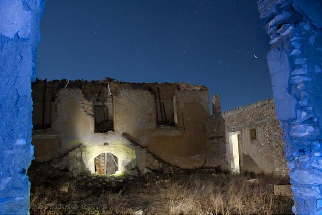 Ruina en marco azul