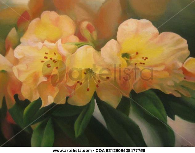 Flores Rododendros Tabla Cera Floral