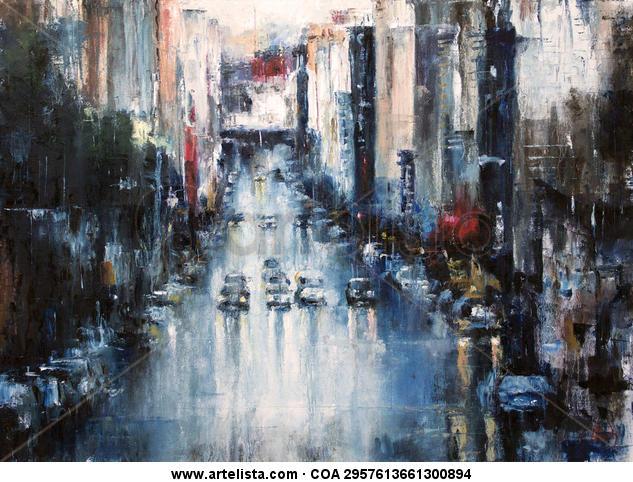 street rain  Lienzo Óleo Paisaje