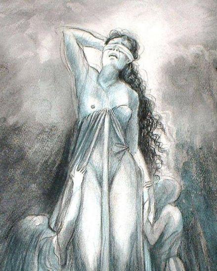 Detalle 1 de la Obra el Lamento de la justicia Grafito Cartulina Retrato
