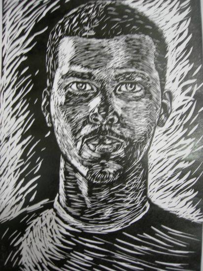 el retrato I Linograbado