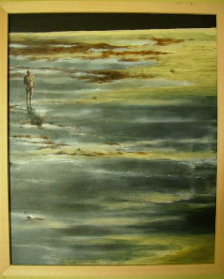 El bañista Panel Oil Marine Painting