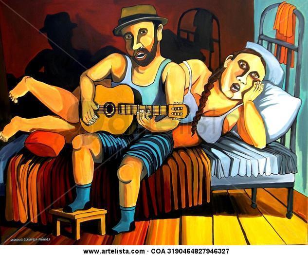 Otra cosa es con guitarra II Tela Acrílico Desnudos
