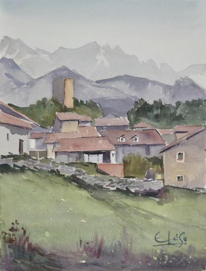 Casas en Mogrovejo Paisaje Acuarela Papel