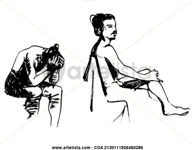 chico sentado Tinta