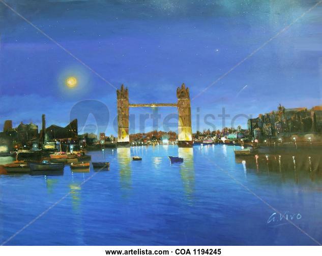 4890 London bridge by night Marina Óleo Lienzo