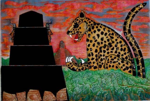 Jaguar, simbolo de fuerzay poder maya Lienzo Acuarela Paisaje