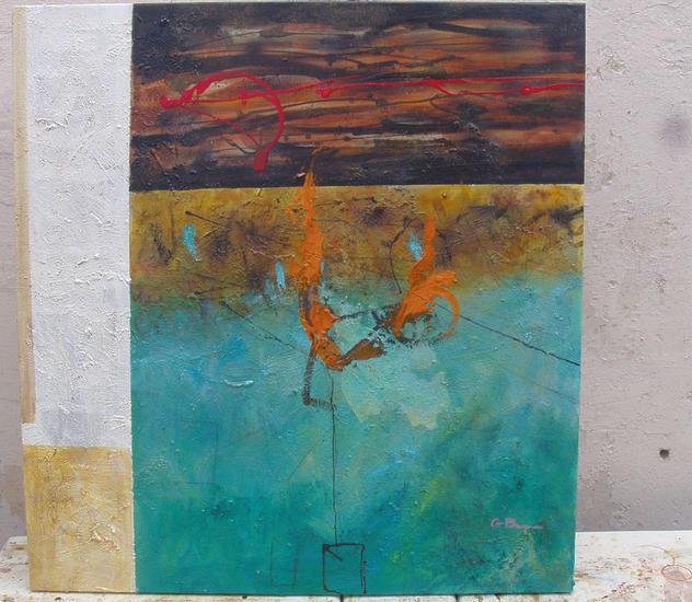 abstracto en turquesa Lienzo Acrílico Otros