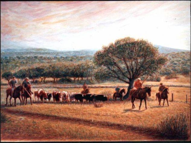 Moviendo el ganado por fincas de ciudad rodrigo jose - Cuadros de vacas ...