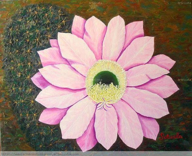 Flor de Cactus óleo sobre lienzo Canvas Oil Floral Painting