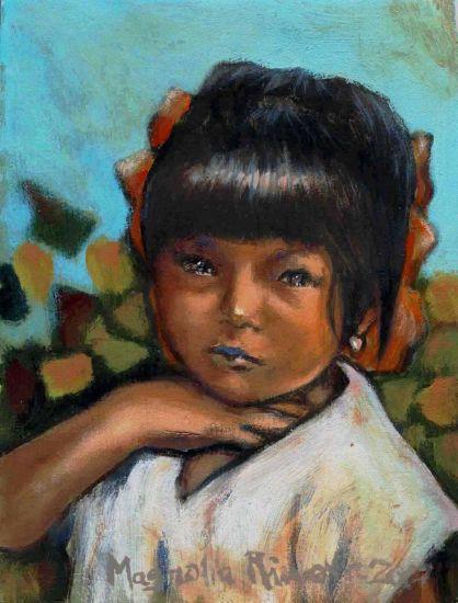 Niña con Moños Acrílico Lienzo Retrato