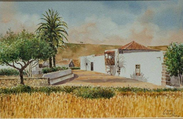 Campo de trigo en Tetir Acuarela Papel Paisaje