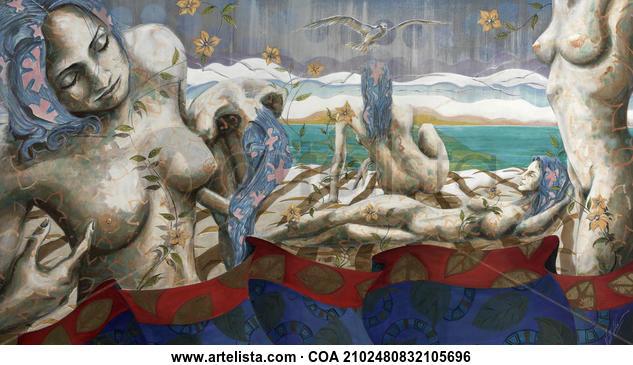 Jardín del Edén Nude Paintings Acrylic Canvas