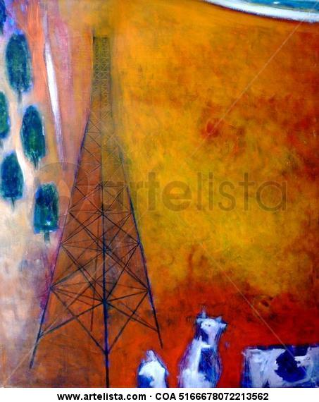 Torre sobre campo naranja; el establo   1.20 x 1.00 cm.  óleo/tela Lienzo Óleo Paisaje