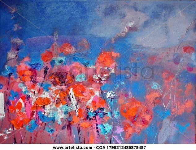 Evening Meadow, june 2013, oil canvas Lienzo Óleo Bodegones