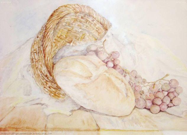 bodegon pan y uvas Cartulina Acuarela Bodegones