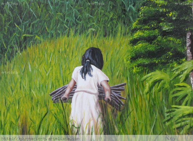 la niña del maiz Óleo Lienzo Paisaje