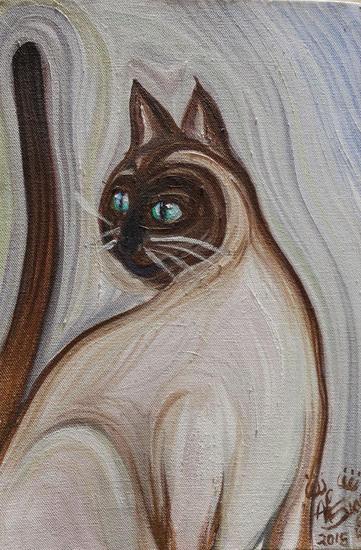 Gato siamés Lienzo Óleo Animales