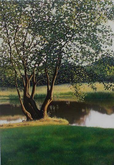 Un árbol en el lago Óleo Lienzo Paisaje