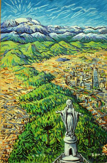 Virgen del San Cristobal Paisaje Papel Gouache