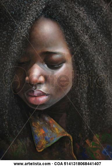 Niña de África 77 Lienzo Óleo Retrato