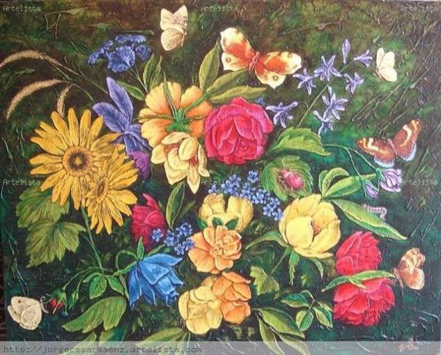 Flores Lienzo Media Mixta Floral