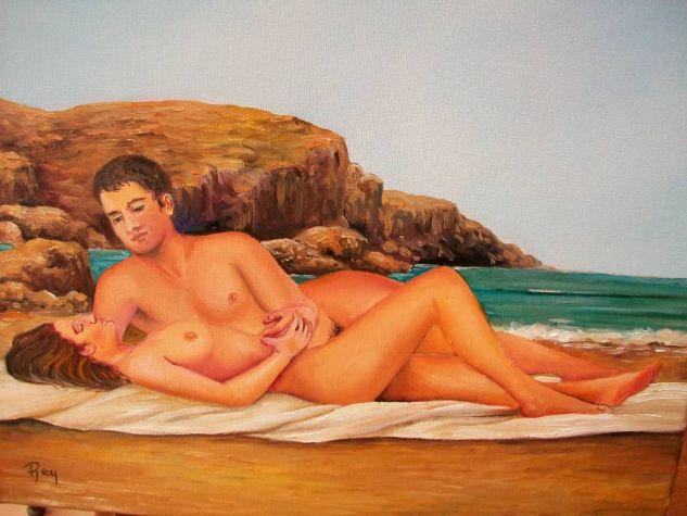 DESNUDOS EN LA PLAYA Óleo Lienzo Desnudos
