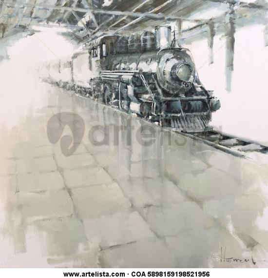 Tren de vapor Lienzo Óleo Otros