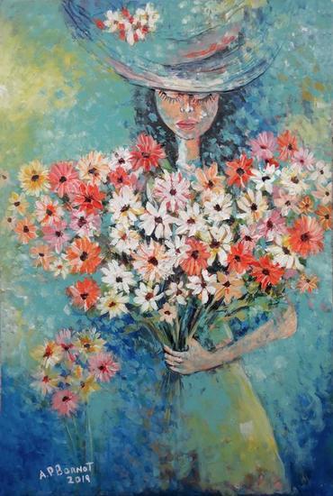 Dama con flores X Figura Acrílico Lienzo