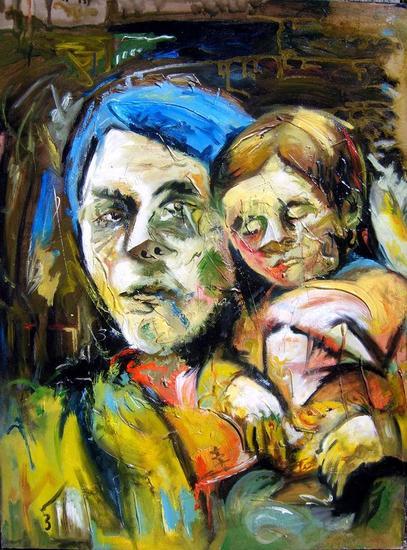 Madre con Hijo en una tarde de Primavera Lienzo Óleo Retrato