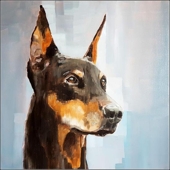 Doberman Animals Mixed media Canvas