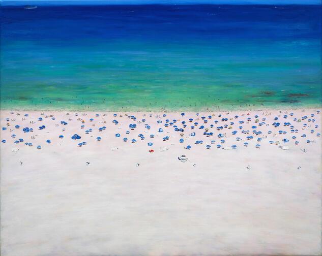 Playa,Miami Marina Óleo Lienzo