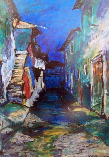 Calle en Korça Óleo Lienzo Paisaje