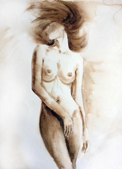 Woman nude Papel Acuarela Desnudos