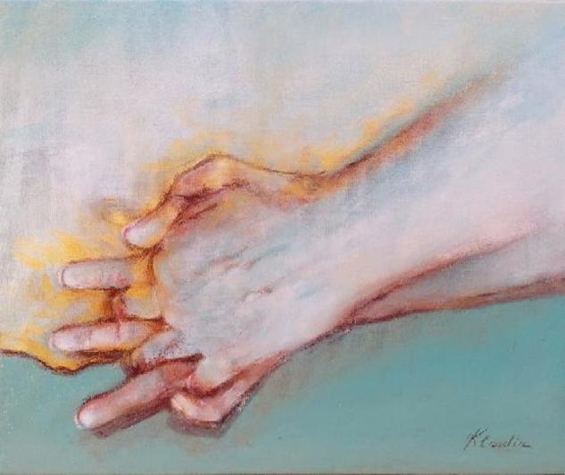 """Sobre la huella de tu mano, nunca te digo adiós""  Figure Painting Mixed media Canvas"