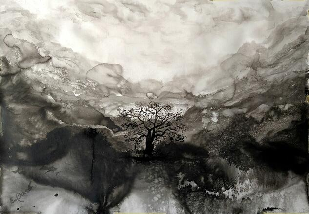 El árbol secreto Paisaje Tinta Papel