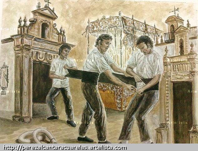 COSTALEROS DE JEREZ, HOMENAJE AL BABUCHA Acuarela Papel Paisaje