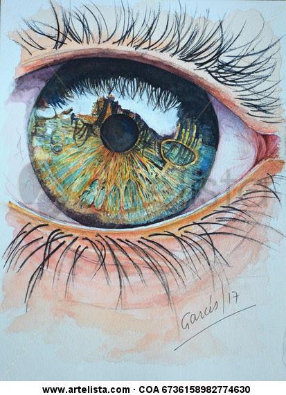 A traves de tu mirada Retrato Cartulina Acuarela