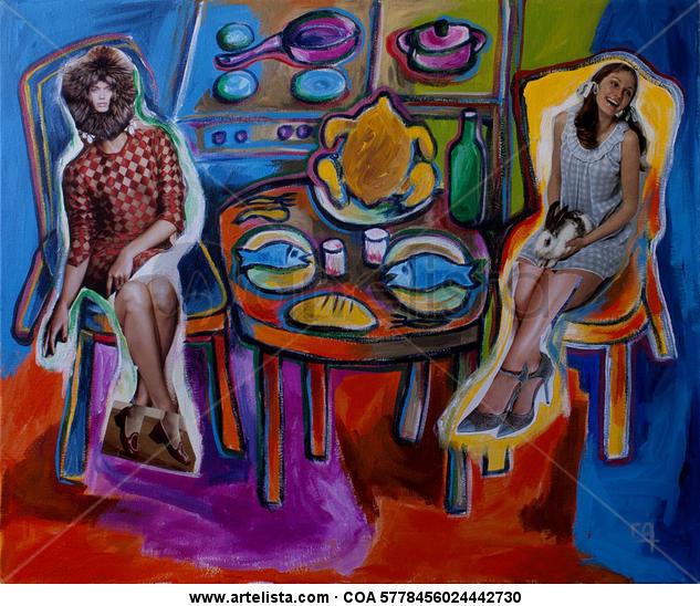 Lucy come con su amiga Lienzo Figura