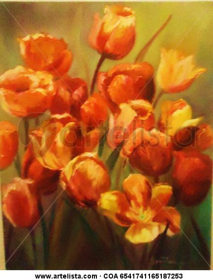 Tulipanes Floral Painting Oil Canvas