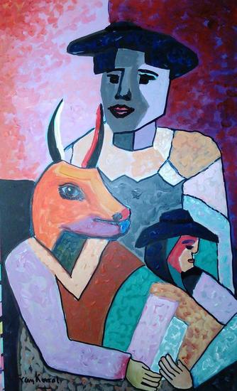 Recordando a Picasso Figura Acrílico Tabla